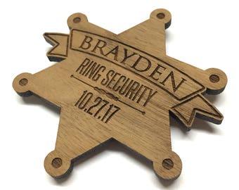 Ring security badge, Ring bearer badge, Ring bearer gift, Wood name badge, Ring security gift, Wedding name tag, Engraved wood name tag