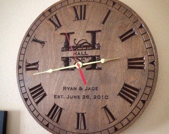 Personalized Clock, Engraved wood clock, Monogram established Clock carved/engraved clock, wedding gift, wood anniversary gift, carved clock