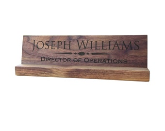 Engraved Desk Name Plate, Personalized name plate / Laser engraved, Hardwood, Desk name plaque, desk plaque, Desk name personalized