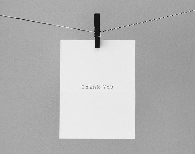 Typewriter thank you card | Envely Cards