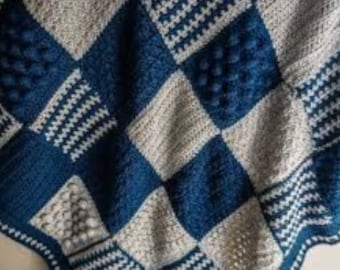 Patterned Color block crocheted Afghan