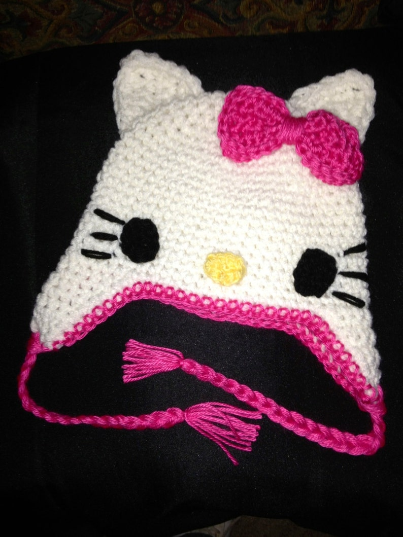 Hello Kitty Crocheted Hat Infant To Adult Etsy
