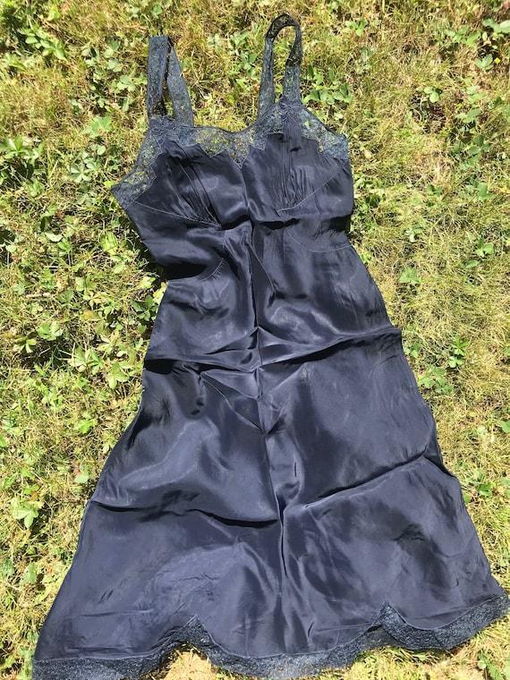 Navy 1940's Slip Dress - image 2