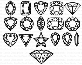 diamond earring etsy Ruby and Diamond Jewelry gem earring svg diamond earring svg files for silhouette cameo and cricut gem cuts clipart included