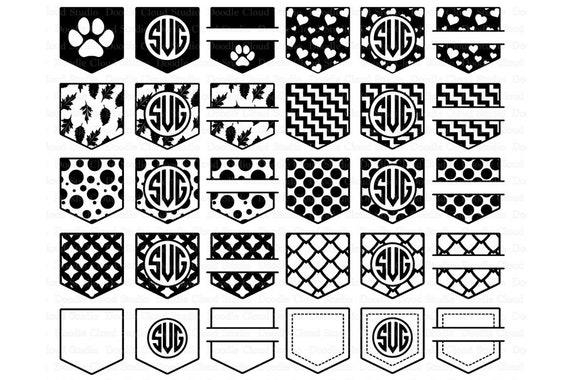 Pocket Patterns SVG Shirt Pocket Monogram SVG Files For Silhouette Cool Cricut Patterns