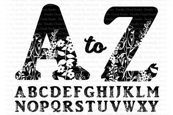 Floral Alphabet Svg Floral Letters Svg Cut Files For Cameo Cricut Decorative Monogram Alphabet A To Z Svg Floral Alphabet Clipart By Doodle Cloud Studio Catch My Party