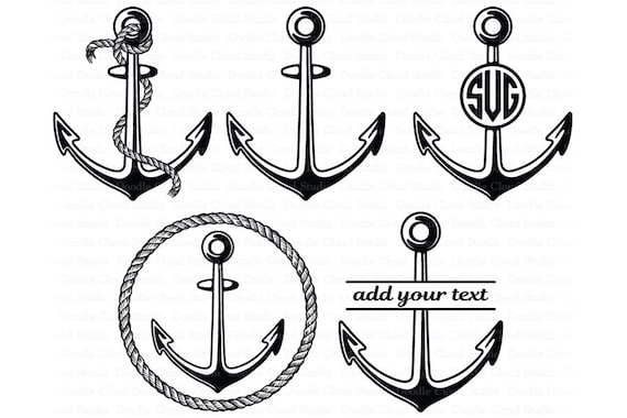 Anchor Svg Rope Anchor Anchor Monogram Anchor Svg Files For Etsy