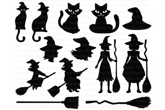 Witch Svg Halloween Svg Halloween Decoration Svg Files For Silhouette Cameo And Cricut Witch Broom Witch Hat Black Cat Halloween Png By Doodle Cloud Studio Catch My Party