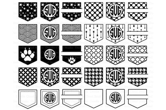 Shirt Pocket Monogram SVG Pocket Patterns SVG Files For Silhouette Beauteous Cricut Patterns