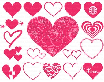 Heart svg, Heart Monogram SVG files for Silhouette Cameo and Cricut. Heart  Clipart PNG included. Valentine Day svg. Heart cuting files