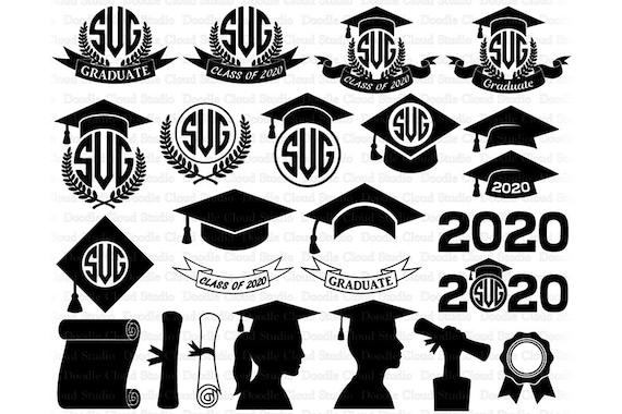Graduation Hat 2020.2020 2019 Graduation Monogram Svg Graduation Hat Graduate Svg Files For Silhouette Cameo And Cricut Graduation Cap Svg Clipart Png Included