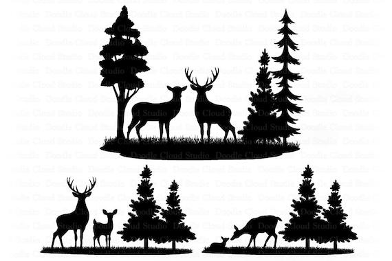 Deers Bundle Svg Deer Svg Files For Silhouette Cricut Wildlife Svg Landscape Svg Forest Deer Clipart Hunting Svg Doe Fawn Buck By Doodle Cloud Studio Catch My Party