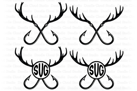 Download Fishing Hunting Svg Deer Horns And Hooks Svg Hunting And Fishing Svg Files For Silhouette Cricut Deer Horns And Hooks Monogram By Doodle Cloud Studio Catch My Party