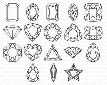 Gems SVG, Diamond SVG, Precious Stone SVG files for Silhouette Cameo and Cricut. Gemstones Clipart png included.
