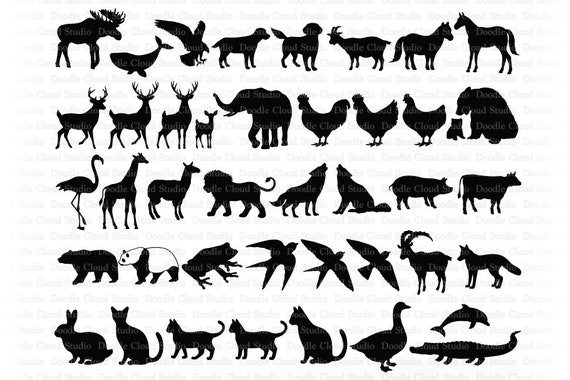 Animals Svg Animal Bundle Svg Files For Silhouette Cameo And Cricut Wild Animals Svg Farm Animals Svg Zoo Animals Set Animals Clipart By Doodle Cloud Studio Catch My Party