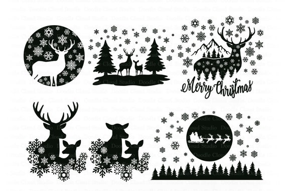 Deer Svg Winter Scene With Deer Bundle Svg Christmas Scene With Deer Svg Files For Silhouette Cricut Christmas Sleigh Deer Snowflakes By Doodle Cloud Studio Catch My Party