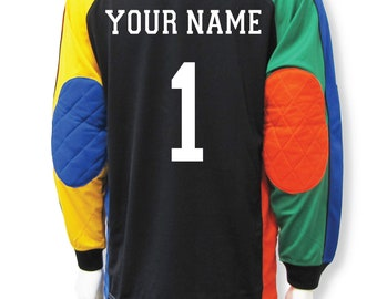 Multicolored soccer goalie jersey customized with name and number c2dc12b95
