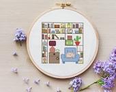 Home Library Bookshelf - PDF Cross Stitch Pattern