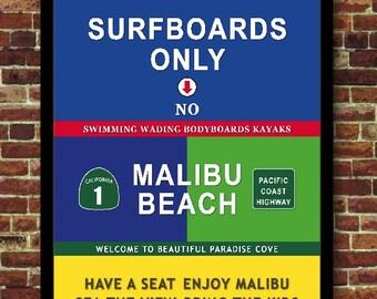 Malibu Beach California travel art print poster