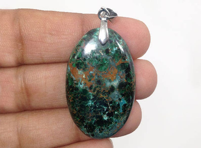 Metal Clasp with wax cotton cord 49Ct Natural Gemstone p-505 45x22x5 mm Chrysocolla Necklace