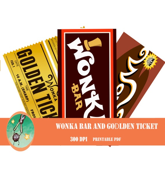 Willy Wonka Bar And Golden Ticket Printable Wrapper Etsy