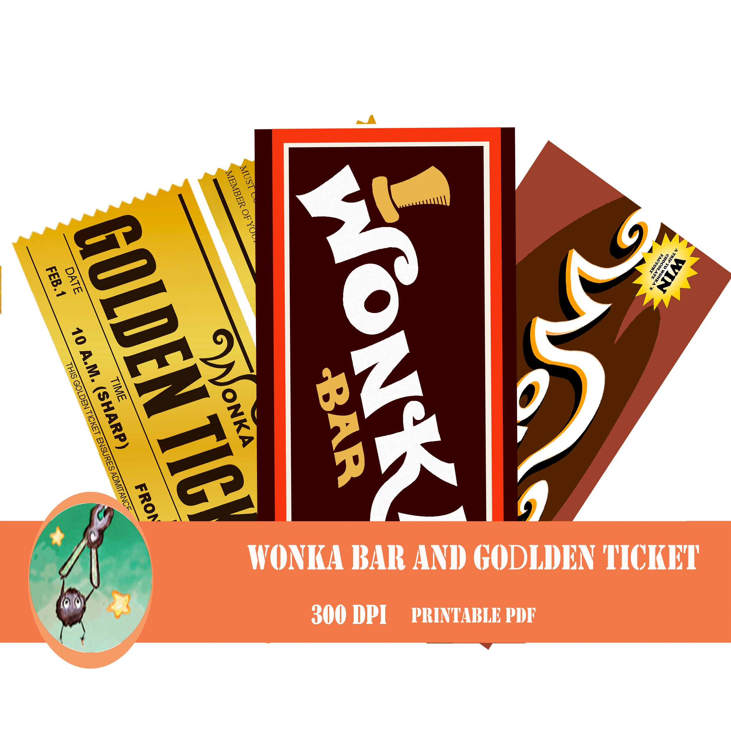 Willy Wonka bar and golden ticket printable wrapper