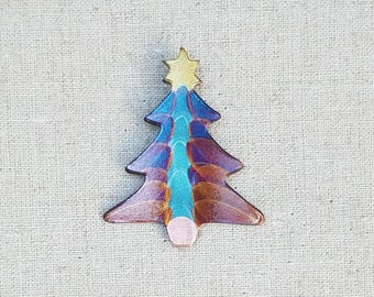 Flame painted copper Sm. Christmas Tree, pin