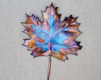 pin Flame painted copper Maple sm.