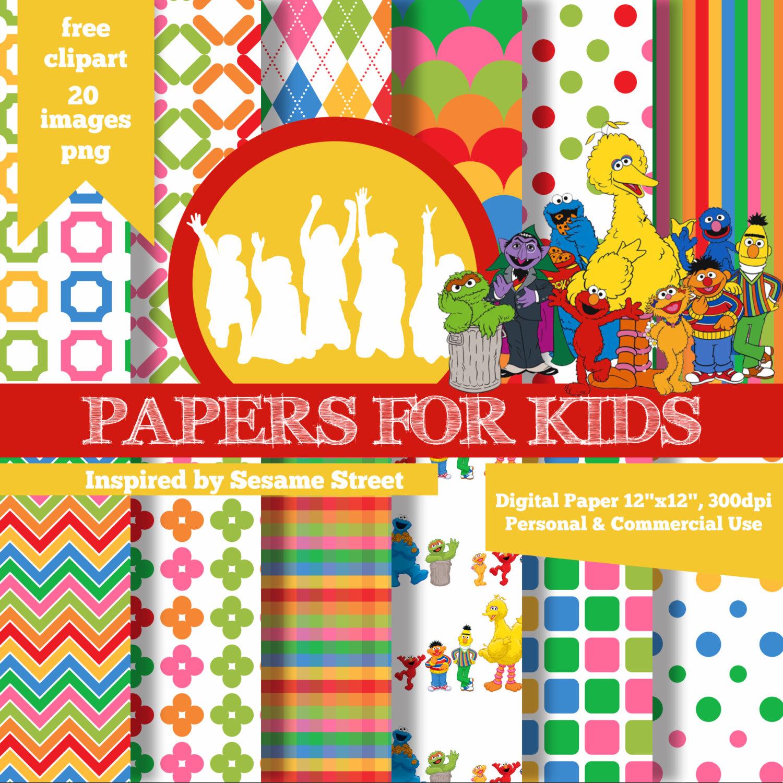 Digital Papers Sesame Street Background Kids Birthday | Etsy