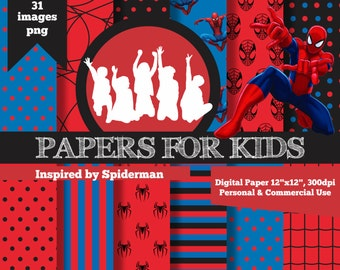 Digital Papers, Spiderman, Boys, Background, Birthday, Superhero, Clipart, Papers for Kids