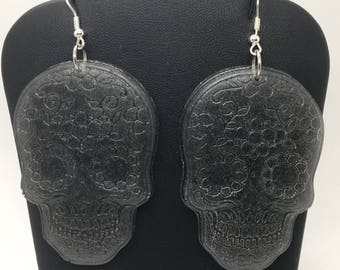 Silver/pewter sugar skull earrings