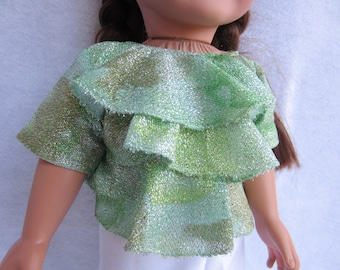 18 inch doll clothes, doll outfit, doll clothing, doll top, doll blouse, doll shirt,doll shoes, green doll top, shimmer doll shirt,