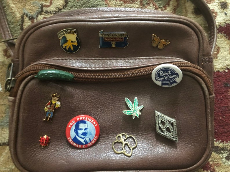 Vintage Brown Leather Cross Body Bag with Vintage Pin Collection