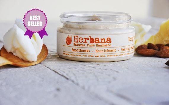 Vegan Body Butter with Mango & Shea butter, Natural Body Moisturizer, Organic Nourishing Body Cream, Skin Smoother by Herbana Cosmetics