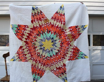 Vintage Handmade Quilted Lone Star and Pattern