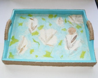 "Tray ""Autumn nature"", blue with jute, plants, nature"