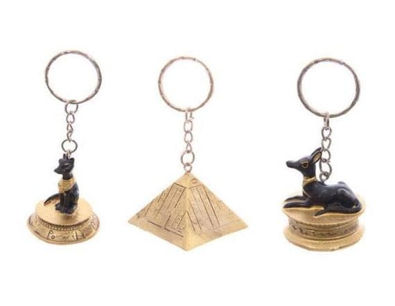Anubis Schlüsselanhänger Anhänger Ägypten mit Pyramide Skarabäus Nofretete