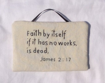 Wall hanging, Bible verses, Home Decor, Hand-Embroidered