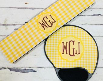 Monogram Wrist Pads, Monogram Gel Pad, Personalize Mouse Pads,  Monogram Wrist Rest, Custom Wrist Rest, Monogram mouse pads, Office Gift
