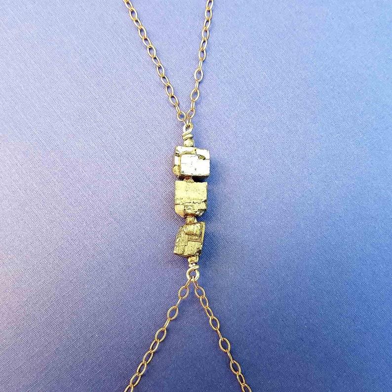 pyrite body chain rough-cut pyrite rose gold body chain rose gold body chain pyrite body harness rose gold body harness