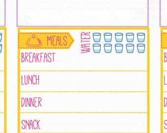 daily food log stickers printable daily menu meal plan etsy