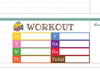 Weekly Workout Plan Stickers For Erin Condren Horizontal Layout Printable Exercise Log Tracker Planner