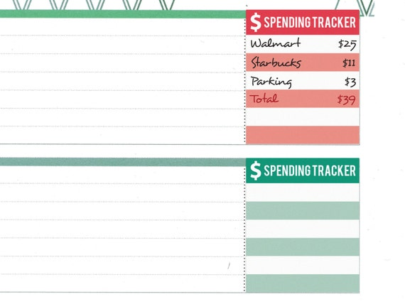 spending tracker for erin condren horizontal layout printable expense log budget money finance for erin condren planner