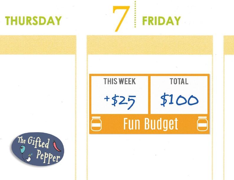 Fun Budget Sticker Printable. Budgeting saving finance image 0
