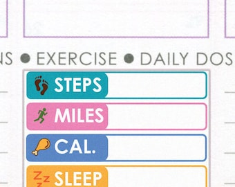 PRINTED Fitness tracker stickers. Fitbit tracker. Workout exercise calories steps sleep log. For Erin Condren Planner. Stickers (Item #047)