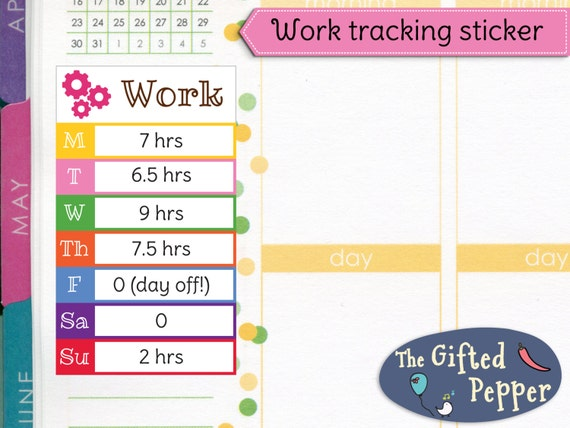 daily work tracker stickers printable weekly tracker etsy