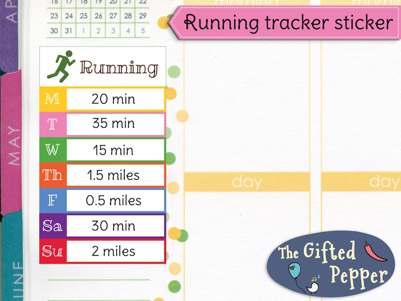 PRINTED Daily running tracker stickers  Run, jog, exercise, fitness, log,  week  For Erin Condren Planner  Stickers (Item #214)