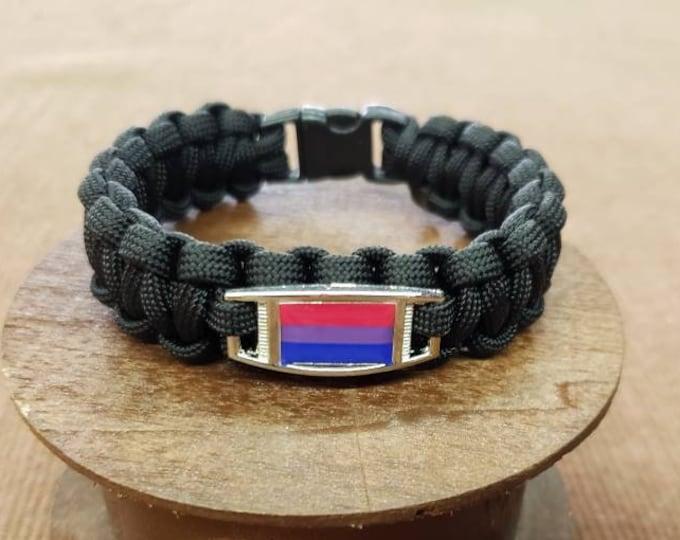 Bisexual Pride Flag Paracord Charm Bracelet, Bi, Bisexual, Pride, Bi Flag Bracelet