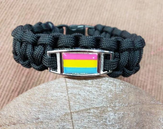 Pansexual Pride Flag Paracord Charm Bracelet, Pansexual, Pan, Pride, Flag Bracelet