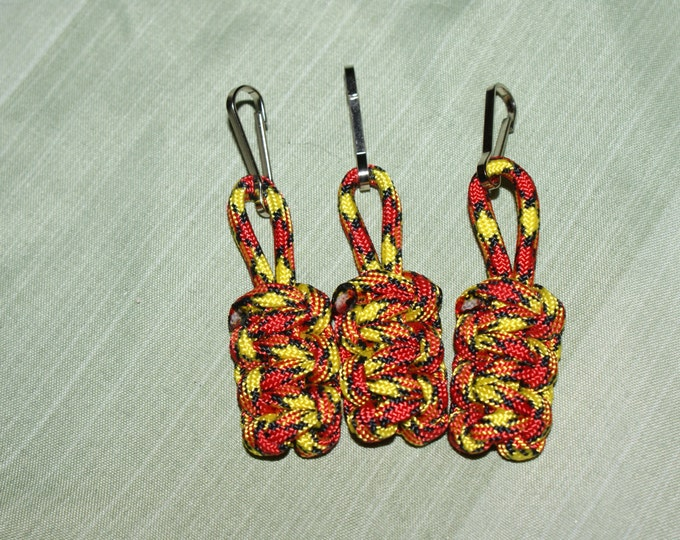 Red, Yellow and Black Paracord Zipper Pulls (Available in packs of 3 or 4), US Marines, USMC